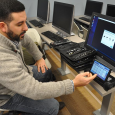 Professor Brandon Catalan in Salve Regina University's new digital forensics lab